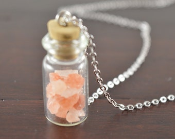 Pink Himalayan Salt Crystal Necklace, Bottle Necklace, Vial Necklace, Terrarium Necklace, Rock Garden Necklace, Pink Gemstone Vial Necklace