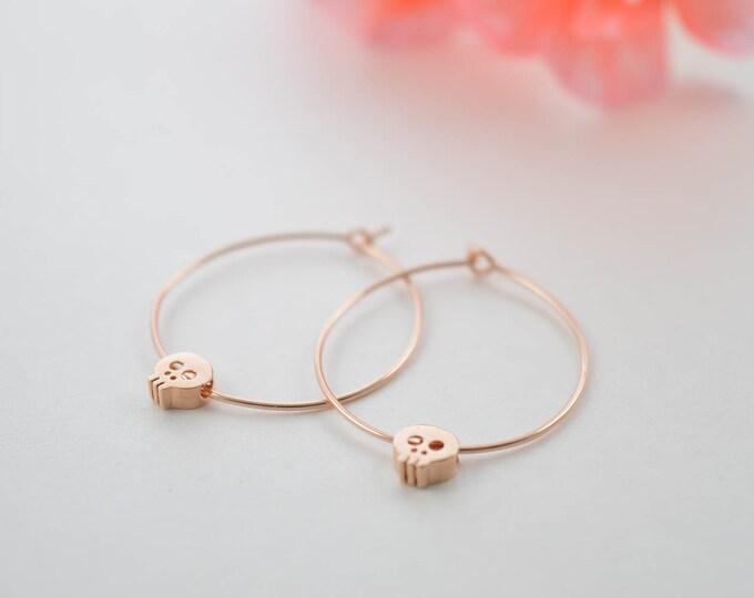 Tiny Skull Hoop Earrings