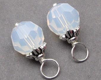 White Opal Swarovski Crystal Charms,  Interchangeable Earrings, Interchangeable Pendants, Bracelet Charms, 8mm Swarovski Crystal Beads