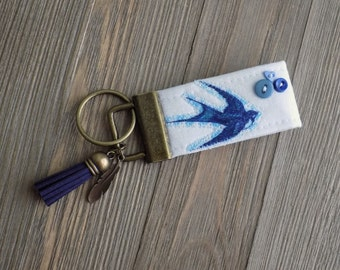 swallow/sparrow bird key chain, key fob with swallow or sparrow, small key fob, key chain with sailor jerry swallow or sparrow bird