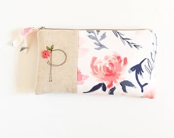 Blush Peony Floral Bridesmaid Clutch, Blush and Navy Wedding, Blush Pink Monogram Clutch, Floral Gift for Bridesmaid, Monogram Womens Gift