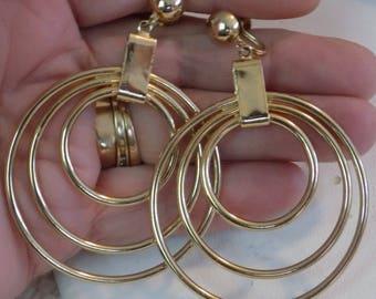 Vintage screw back earrings, Retro 1950's signed Coro big golden dangles earrings,jewelry