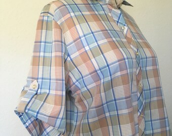 80s vintage pastel plaid blouse, quarter sleeve rolled button, blue tan peach green 1980s boxy blouse, Koret vtg oversized size L XL 46 bust