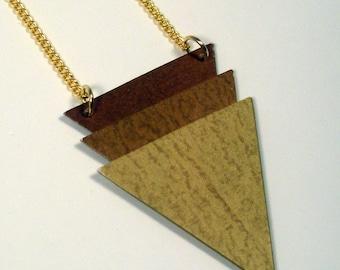 Geometric Triangular Necklace, Upcycled Wallpaper Pendant, Metallic Tricolor Pendant, Reversible Pendant, Rust-Gold Shades