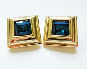 Monet Clip On Earrings, Sapphire Blue Glass, Gold Plated Square, Vintage