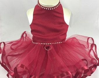 Little Princess Wedding Wishes,bride dress, wine dog dress, wine flowergirl dog, maid of honor dress, fancy dog dress, custom wedding dog,