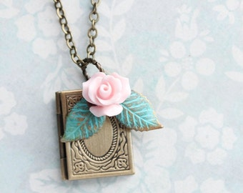 Book Locket Necklace Pink Rose and Aqua Teal Leaf Charms Pendant Secret Hiding Place Photo Locket Rustic Storybook Book Club Gift For Her