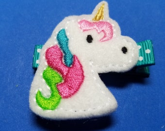 "Unicorn Feltie Hair Clip Clippie - ""Eunice the Unicorn"" - For Infant Toddler Girl"