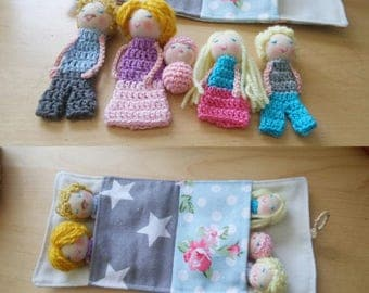 For Jill, Family Finger Puppets, Family of five, Blond Family, Toy, Soft Toy, Soft Dolls, Play dolls,
