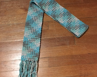 Ice Blue Crochet Scarf, Color Pooled Scarf