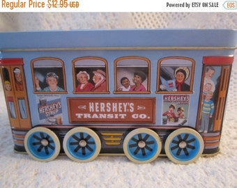 15% SALE Vintage HERSHEY TROLLEY Truck Tin Container Americana Advertising Blue Brown Collectible