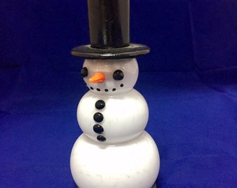 Glass Snowman / Candle holder