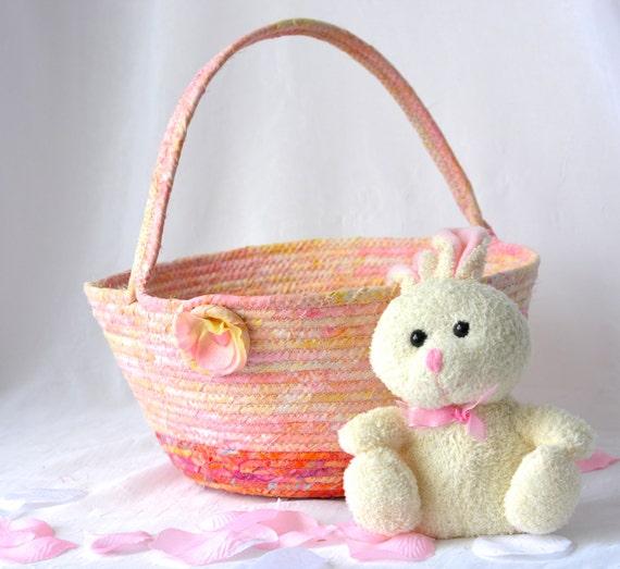 Girl Gift Basket, Handmade Pinky Peach Batik Basket, Gorgeous Fiber Pottery Basket, Easter Bucket, Easter Decoration