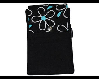 Teal Daisy Twill Zipper Cell Phone Holder, Wallet, iPhone Case, Samsung Case, Droid, Phone Case