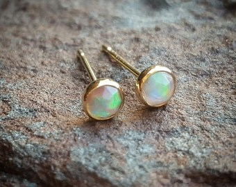 Fire Opal Earrings Opal Stud Earrings Opal Studs Womens Gift for Women October Birthstone Earrings Gold Opal Jewelry 14K Gold Opal Jewelry