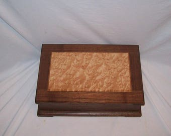 Fancy Walnut Jewelry Box with Birds Eye Maple paneled top Wood Box Handmade  15''x10 1/4''x5''