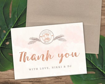 Rose Gold Watercolor Destination Wedding Passport Thank You Cards by Luckyladypaper - Do NOT purchase this listing, see details to order