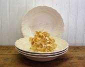 "Four 8"" USA Creamy Discolored Off White Ironstone Bowls"