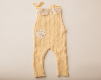 Buttercup Yellow Ribbed Sweater Overall- Newborn Photography Overall Set