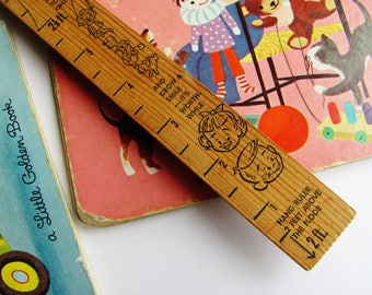 Children's Growth Ruler And Yardstick 1960s Illustrated Wooden Hanging Measures 2 Ft. To 4 Ft. 9 In.