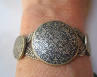 Niello Turkish Bracelet, Sterling Silver Chains, Ethnic Jewelry from Turkey