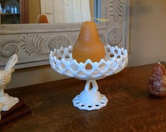 Milk Glass Westmoreland Doric Pattern Pedestal Fruit Bowl or Compote