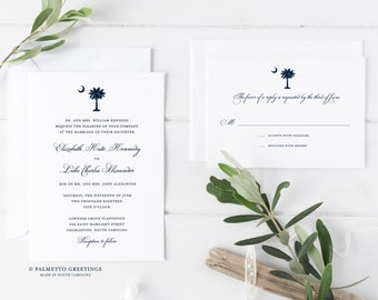 South Carolina Palmetto Moon Wedding Invitations, South Carolina Flag, SC Palmetto Crescent Moon Wedding Invites by Palmetto Greetings