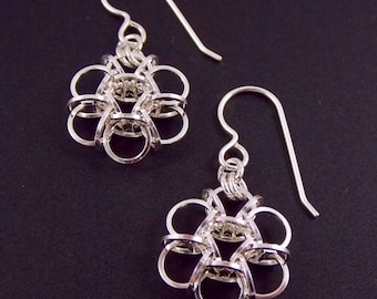 Squared Sterling Silver Fill Tao Flower Earrings