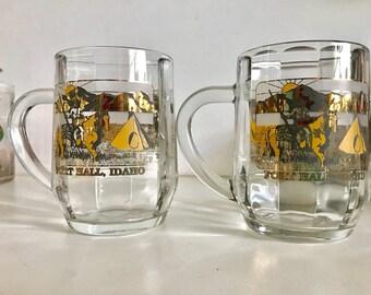 Vintage Gold & Black USA Souvenir Glass Mugs