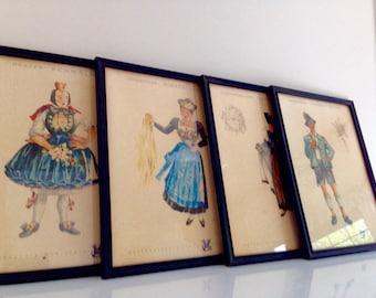 German Folk Art Fritz Kück Framed Wayercolor Prints