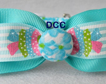 Dog Collar w Kissing Fish Ribbon Bow Tie Blue Touquoise Floral  Flowers CHOOSE SIZE Adjustable D Ring Collars Accessories Pet Pets Accessory