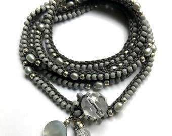 "Crochet boho wrap bracelet, beaded, ""misty"", gray, mother's day, crochet jewelry, boho wedding, spring fashion, coffycrochet, gift for her"