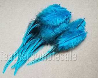 Turquoise Blue Craft Feathers Supplies Crafting Fly Fishing Badger Pattern Rooster Saddle Hackle Jewelry Feathers 12 Feathers