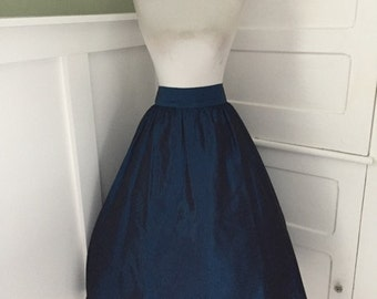 VINTAGE 1960s 1980s Jessica McClintock Gunne Sax High Waisted Deep Blue Cocktail Party Formal Full Skirt