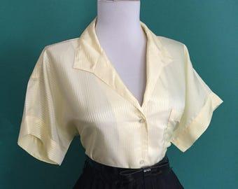 Flirty Yellow & White Striped Vintage 1950s 1960s Atomic Short Sleeve Button Down Blouse