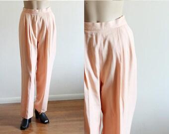 "Vintage Peach High Waisted Wool Blend Pants  / Lined Pants / 26"" Waist"