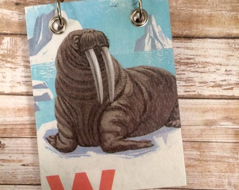 Recycled  Notebook - Walrus Notebook - Upcycled Vintage Book - Large Notepad - Refillable Notepad - Animal Note Book