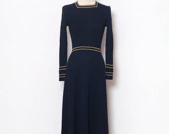 Vintage 70s Maxi Dress / Vintage Dress / dress / retro / 1970s / Dress Long / party /Navy dress / Dresses / maxi dress / vintage maxi dress