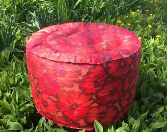 NOS inflatable red floral 60s vintage footstool plastic beach pool furniture