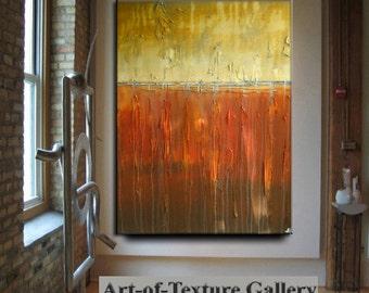 HUGE Original Modern Abstract Impasto Texture Orange Gold Brown Gray Slate Oil Painting by Je Hlobik