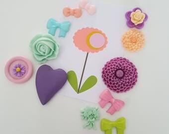 12 bloemen magneetjes pastel, botanische magneetjes, floral magnets