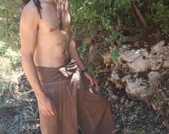 Fisherman Pants ~ Traditional Handstitched Handwoven Cotton Natural Dye ~