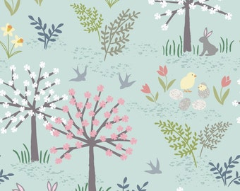 Salisbury Spring on Blue  A205.2 - SALISBURY SPRING - Lewis and Irene Fabric - By the Yard