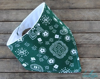 Baby Bib Bibdana Hunter Green Bandana Drooling Bib over Black or White Flannel teething bib baby bib Baby Shower Gift