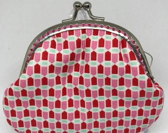Handmade Coun Purse - Pink and Red Arrow