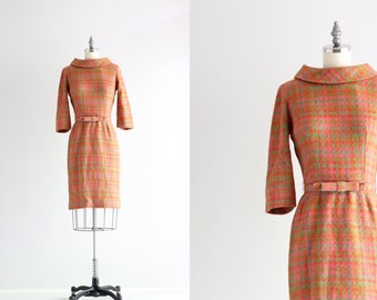 Vintage Herringbone Plaid Wool Dress . 50s 1950s Dress . Long Sleeve Dress . Wiggle Dress