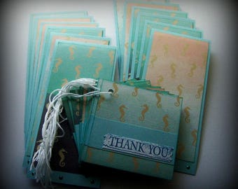 Seahorse Thank you tags, Etsy shop supplies, Etsy seller supplies, Thank you for your business, Set of 24 merchandise thank you tags