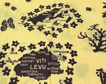 "Vintage Fiji Islands Map Yellow and Brown Cotton Fabric 44"" x 2 Yards by J B - Polynesian fabric, Fiji fabric, dance costume fabric"