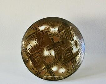 Vintage Mid Century Modern Enamel Dish, Hanova of Pasadena, Lava Glaze, Brutalist