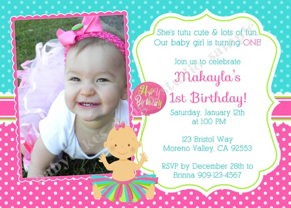 Tutu 1st Birthday Invitation invite tutu birthday tutu invitation princess invitation tutu party Printable Photo Picture